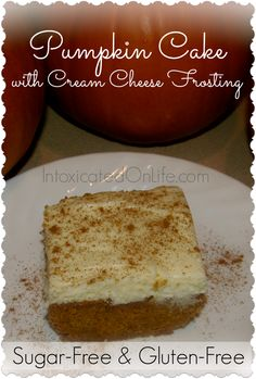 Pumpkin Cake with Cream Cheese Frosting (Gluten-free & sugar-free)