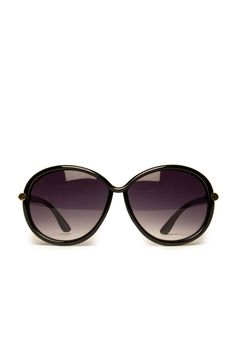 Cannes Oversized Sunglasses in Black Gold / ShopSosie #oversized #oval #shaped #black #sunglasses #shopsosie