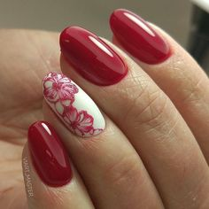 Make an original manicure for Valentine's Day - My Nails Fabulous Nails, Perfect Nails, Gorgeous Nails, Pretty Nails, Diy Nail Designs, Nail Designs Spring, Red Nails, Hair And Nails, Red Nail Art
