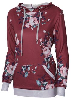 Soft Floral Hooded Sweatshirt, 10% Off for Pre-order! Easy Return + Refund! Casual outfits are must in any time! It features lovely print and drawstring hood. It is so breathable on comfy!