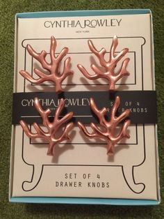4 Cynthia Rowley Beach House Copper Color Coral Reef Drawer Cabinet Pulls Knobs  #CynthiaRowley