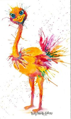 Items similar to 6 9 12 15 or 24 Ostrich Watercolor Gift Tags; All-Occasion Gift Tags; Tags on Etsy Watercolor Bird, Watercolor Animals, Watercolor Paintings, Bird Drawings, Animal Drawings, Tableau Pop Art, Abstract Animals, Happy Paintings, Whimsical Art