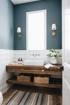 Farmhouse Bathroom features shiplap wainscoting an. Farmhouse Bathroom features shiplap wainscoting and a custom floating vanity made out of reclaimed wood Bathroom features shiplap wainscoting and a custom floating vanity made out of reclaimed wood Reclaimed Wood Vanity, Wood Sink, Reclaimed Wood Shelves, Wood Counter, Counter Top, Bad Inspiration, Bathroom Inspiration, Interior Inspiration, Luxury Interior Design