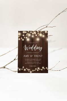 Rustic Winter Wedding Invitation, Christmas Wedding Invite, Snowflake String Lights, Wood, Casual Wedding, Corjl Editable Template 428 Wood Invitation, Rustic Invitations, Invite, Christmas Wedding Invitations, Wedding Shower Invitations, Wedding Reception Lighting, Reception Party, Wedding Shower Decorations, Christmas Couple
