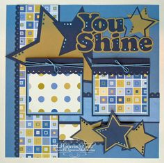 Premade Scrapbook Page Layout Paper Piecing 12x12 Boy Girl Baby You Shine Stars Handmade Elite4U