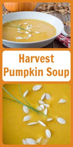 Our Harvest Pumpkin Soup Recipe is a rich and flavorful autumn soup that's simple to make, too. It's fantastic because the only other ingredients you need (other than pumpkin) are chicken or vegetable broth, olive oil, and a couple of spices from the cupboard! || cookingwithruthie.com #pumpkinsoup #souprecipe #autumnrecipe #fallrecipe #fallharvest Sweets Recipes, Fruit Recipes, Pumpkin Recipes, Vegetable Recipes, Fall Recipes, Real Food Recipes, Autumn Soup, Food Dinners, Crock Pot Soup