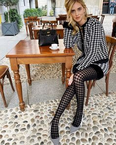 Knitted co-ords like the ones worn by style girls Chiara Ferragni, Chloé Harrouche, Lisa Hanhbück and Diletta Bonaiuti, you'll wear on repeat through fall. Pantyhose Outfits, Cute Tights, Tights Outfit, Looks Street Style, Street Style Women, Cozy Fashion, Urban Fashion, Jeggings, Tweed
