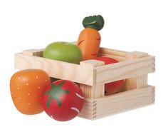 Groente en fruit in houten kratje