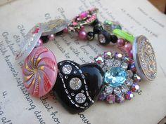 Candy Cane- A Vintage Button Bracelet - Designed and made by Vintage Vamp