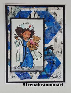 #greetingcard by #thebrannonfactory #trenabrannonart image by #momanning #nurse #care #browngirls #teddybear #copiccoloring #copicmarkers #copic #istencil #stencilgirl
