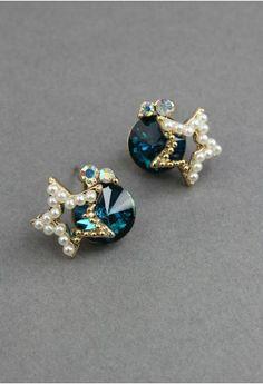 Diamond Pearl Star Earrings