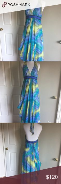 """🎀 BcbgMaxAzaria """"Chambra"""" Halter Maxi Dress. Stunning chiffon dress, halter top blue and yellow with ribbons of silver threads. One of a kind, worn only once !! SMOKE FREE AND PET FREE HOME!! BCBGMaxAzria Dresses Maxi"""
