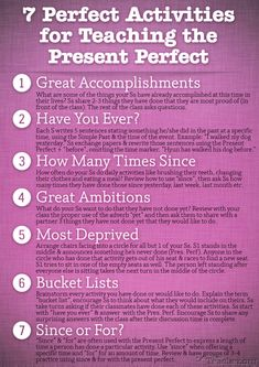 7 Perfect Activities to Teach the Present Perfect presente perfecto Efl Teaching, Teaching Grammar, Grammar And Vocabulary, Teaching Spanish, Teaching English, English Teachers, Grammar Activities, English Activities, Teaching Activities