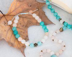 Amazonite, avanturine & jade 108 mala beads bracelet , antique charms, macrame closure, yoga gift, meditation, beauty, present