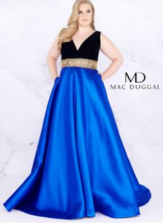 Color blocking is back and bigger than ever with style number Dive into Peach Sorbet or Royal/Black color options in this epic Prom gown. Featuring a micro suede velvet V-Neck, gold geometric belt and pocket A-Line mikado skirt. Plus Size Long Dresses, Plus Size Party Dresses, Evening Dresses Plus Size, Ball Gowns Prom, Prom Dresses, Gold Velvet Dress, Mac Duggal, Dress Out, Special Occasion Dresses