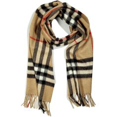 BURBERRY LONDON Camel Check Giant Icon Cashmere Scarf (1.520 BRL) ❤ liked on Polyvore featuring accessories, scarves, burberry, cashmere shawl, fringe shawl, fringe scarves, checkered scarves and cashmere scarves