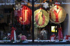 christmas window display with embroidery hoops