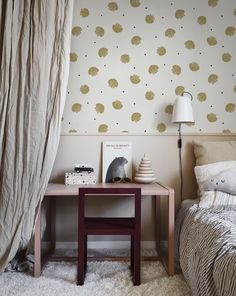 Keep things dreamy for the little dreamers - - Wallpaper: Rio in Mustard Buy Wallpaper Online, Wallpaper Samples, Girls Bedroom Wallpaper, Rainbow Room, Bedroom Pictures, Scandinavian Home, Wall Murals, Most Beautiful Pictures, Mustard