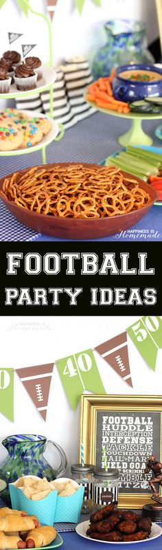 Football Party Ideas - perfect for Superbowl Sunday! These decorations and food ideas are all really quick and easy!