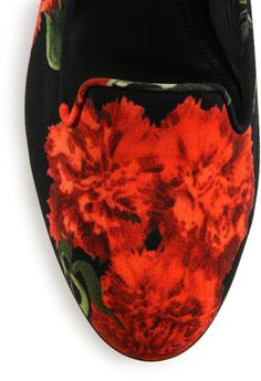 DOLCE & GABBANA Carnation Print Smoking Slippers in Red for Men $416.00