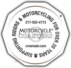 The Original Custom Imprinted Motorcycle Coaster® White Motorcycle, Coasters, Plate, Messages, Ink, Printed, Check, Color, Design