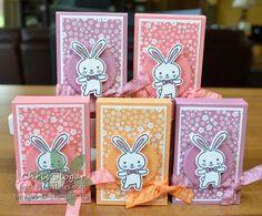 Bunny Treats Easter Favor using Basket Bunch by Stampin' Up! up Easter treats Bunny Treats Easter Projects, Easter Crafts For Kids, 3d Projects, Spring Crafts, Holiday Crafts, Hannelore Drews, Vintage Greeting Cards, Vintage Postcards, Treat Holder
