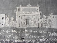"Maria Niforos - Fine Antique Lace, Linens & Textiles : Antique Lace # LA-207 Magnificent Appenzel ""Grand Tour"" Hankerchief"