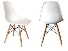 Eames DSW White Plastic Chair   Wooden Legs