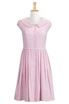Seersucker stripe shirtdress.  Customize to longer length.
