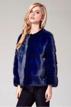 Lilly E Violetta Navy Dyed Mink Fur Jacket