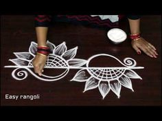 freehand lotus kolam designs * easy rangoli designs * simple muggulu with out dots *latest rangavali - YouTube
