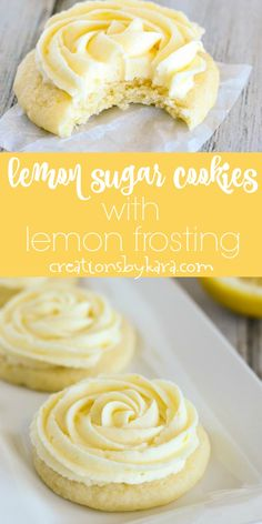 Simply scrumptious Lemon Sugar Cookie Recipe-topped with fresh lemon frosting, these lemon sugar cookies are heavenly! A perfect sugar cookie for lemon lovers. #lemoncookies #lemonsugarcookies #lemonfrosting #lemondessert #lemonrecipe #creationsbykara