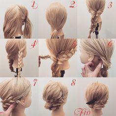 """1,049 Likes, 7 Comments - (香川県/美容師)西川 ヒロキ《ヘアアレンジ・カラー》 (@hiroki.hair) on Instagram: """"三つ編みのまとめ髪✨ 1,どちらかの横の髪を分けます(今回は右の髪を分けときます) 2,それ以外の髪を左寄りに結びます 3,くるりんぱして三つ編みします 4,横の髪を三つ編みします…"""""""