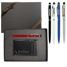 """LG-9229 Magic Wallet & Stylus Pen Gift Set.  Includes the LG-9138 Astor Magic Wallet and the PL-4255 Stylus/Ballpoint Pen for Touchscreen Mobile Devices. Cowhide leather """"magic"""" wallet. Simply place your bills in the wallet, open, and they're strapped securely away. Twist-action copper pen with lacquer finish and silicone rubber stylus for use with an iPad® or any other touchscreen device."""
