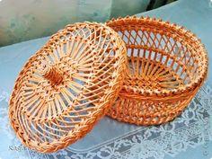 Плетение Шкатулка под вязание Трубочки бумажные фото 1