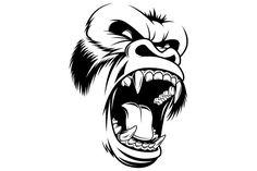 Ferocious gorilla head - Illustrations
