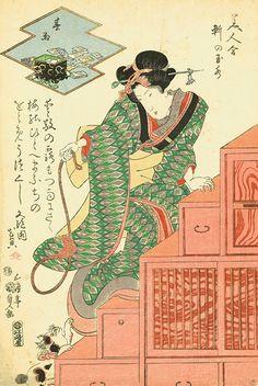 Utagawa Kunisada (1786–1864), Under the Eaves of Tamamizu: Spring Rain from the series A Contest of Beauties 1818–30. Color woodblock print; 22 ½ x 16 inches. Courtesy Hiraki Ukiyo-e Foundation.
