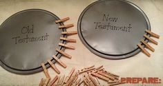 I remember playing this Bible skills game as a child and I've been amazed at how the kids in my class have loved playing this, too! 2 Round Aluminum Pizza Pans 66 Clothes Pins A Fine Point Permanen…