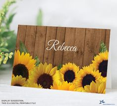 """Rustic Sunflower Bouquet  Personalized Printable Place cards; 3.5""""x2"""" Folded Cards, Editable PDF, Instant Download by StarStreamPrintables on Etsy"""