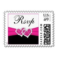 Black White Pink Damask Wedding RSVP Postage