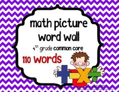 4th Grade Math Common Core Vocabulary Cards - Great for flash cards or word walls - Classroom Printable
