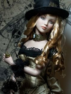 About Steampunk Cinderella: OOAK Repaint Tonner Cinderella in Metrodolls Magnolia Ensemble with Hat and Jewelry by Shiloh Winter Jewelry