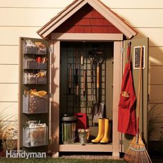 this outdoor shed/closet is small, but compact. it'll hold most of your gardening and lawn care tools and supplies and keep them close at hand and well organized.