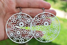Statement Earrings White Flower Design Large Dangle Jewelry for women #ER 7 by eventsmatters on Etsy