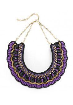 Purple Bib Statement Necklace