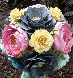 Handmade Paper Flower Bouquet Designed By Anna Fearer #wedding #paperflower #bouquet #bridal #paperflowerbouquet