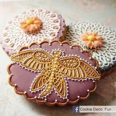 Cookie Deco. Fun // Sugar lace cookies 糖蕾絲糖霜餅乾! Lace Cookies, Cupcake Cookies, Sugar Cookies, Cupcakes, Butterfly Cookies, Sugar Lace, Cookie Decorating, Macarons, Treats