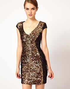 $307 French Connection Contrast Sequin Panel Dress