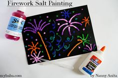 Firework Salt Paintings | Nanny Anita | My Baba Salt Painting, Glue Painting, Fun Things, Things To Think About, Fireworks Pictures, Crafts For Kids, Arts And Crafts, Bonfire Night, Educational Activities