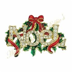 Noel Crystal Word Pin Brooch Red Ribbon Wrap Goldtone Metal Christmas Holiday  #nobrand